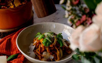 Zapečené těstoviny s ragú a dýní